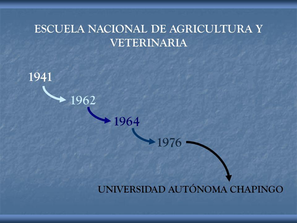 ESCUELA NACIONAL DE AGRICULTURA Y VETERINARIA UNIVERSIDAD AUTÓNOMA CHAPINGO 1941 1962 1964 1976