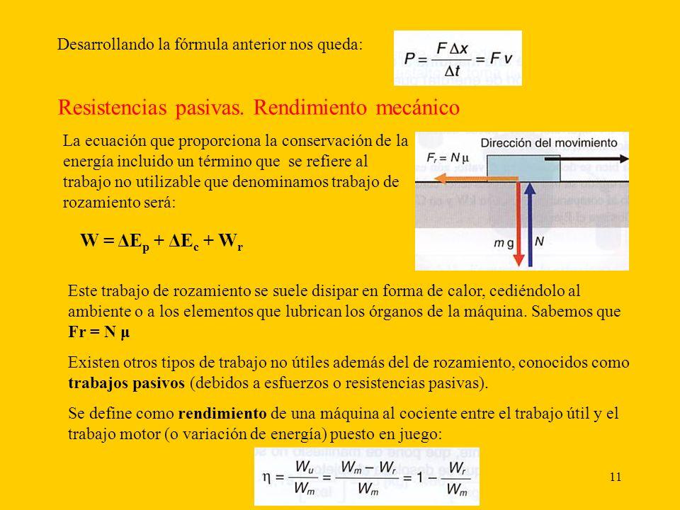 11 Desarrollando la fórmula anterior nos queda: Resistencias pasivas. Rendimiento mecánico La ecuación que proporciona la conservación de la energía i