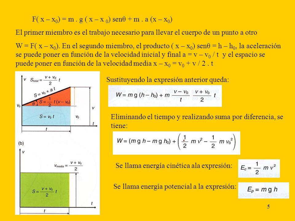 5 F( x – x 0 ) = m. g ( x – x 0 ) senθ + m. a (x – x 0 ) El primer miembro es el trabajo necesario para llevar el cuerpo de un punto a otro W = F( x –