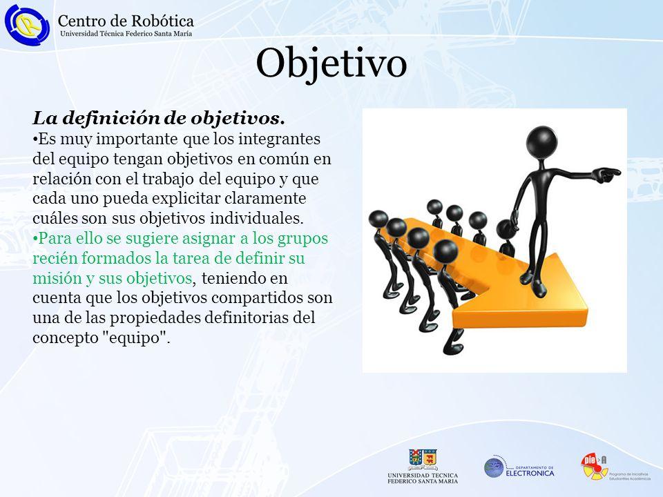Objetivo La definición de objetivos. Es muy importante que los integrantes del equipo tengan objetivos en común en relación con el trabajo del equipo