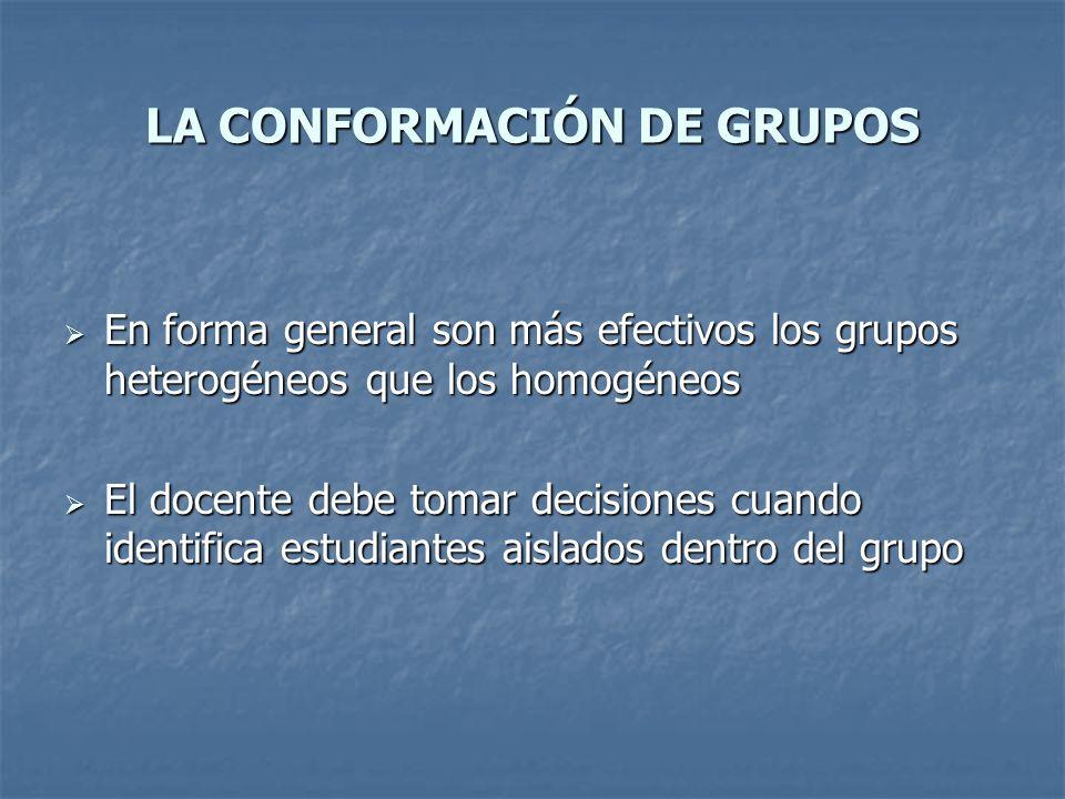 LA CONFORMACIÓN DE GRUPOS En forma general son más efectivos los grupos heterogéneos que los homogéneos En forma general son más efectivos los grupos