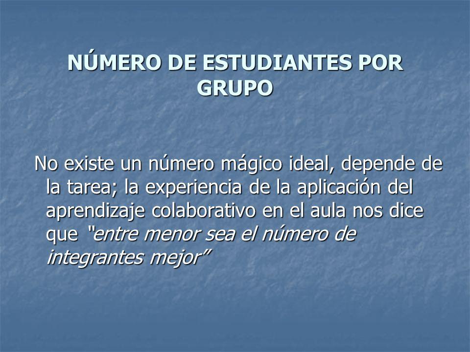 NÚMERO DE ESTUDIANTES POR GRUPO No existe un número mágico ideal, depende de la tarea; la experiencia de la aplicación del aprendizaje colaborativo en
