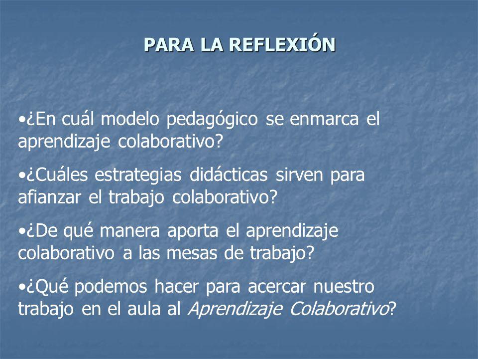 PARA LA REFLEXIÓN ¿En cuál modelo pedagógico se enmarca el aprendizaje colaborativo? ¿Cuáles estrategias didácticas sirven para afianzar el trabajo co