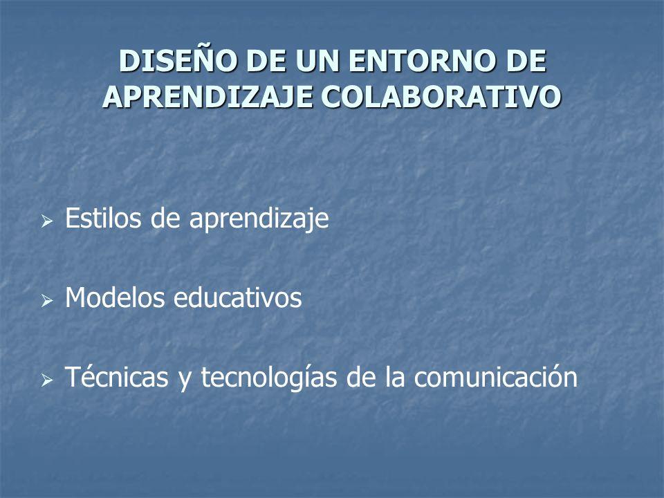 DISEÑO DE UN ENTORNO DE APRENDIZAJE COLABORATIVO Estilos de aprendizaje Modelos educativos Técnicas y tecnologías de la comunicación