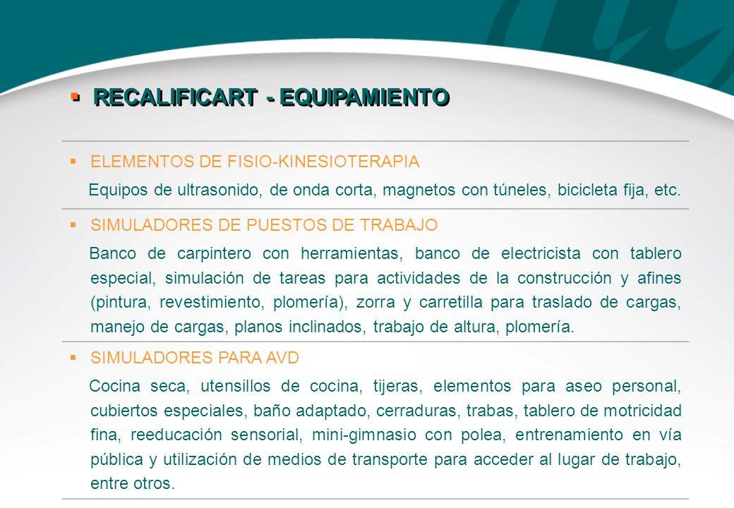 ELEMENTOS DE FISIO-KINESIOTERAPIA Equipos de ultrasonido, de onda corta, magnetos con túneles, bicicleta fija, etc. SIMULADORES DE PUESTOS DE TRABAJO