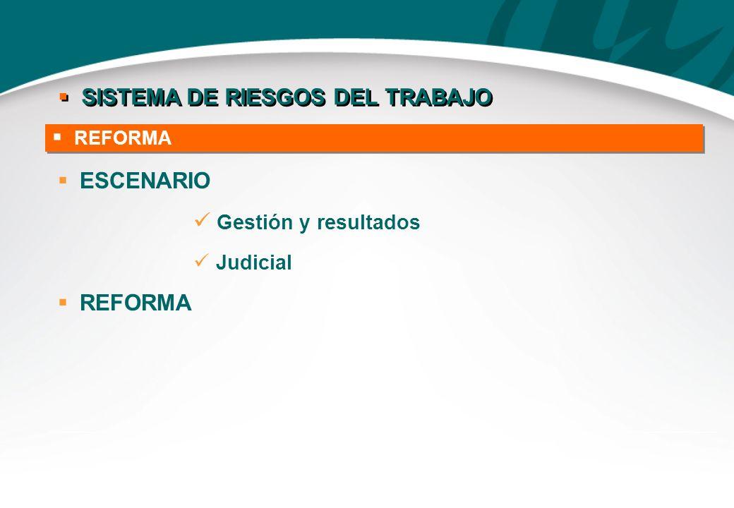 REFORMA SISTEMA DE RIESGOS DEL TRABAJO Reformas Prestaciones Contingencias cubiertas Entes gestores Acción civil ESCENARIO Gestión y resultados Judici
