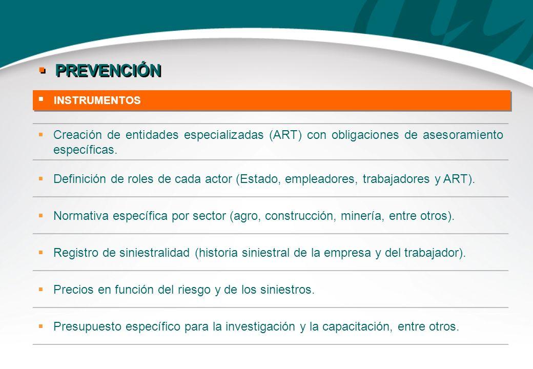 INSTRUMENTOS PREVENCIÓN Creación de entidades especializadas (ART) con obligaciones de asesoramiento específicas. Definición de roles de cada actor (E
