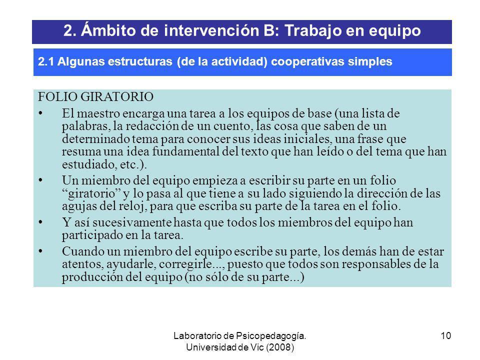 Laboratorio de Psicopedagogía. Universidad de Vic (2008) 9 1-2-4 Dentro del equipo de base, primero cada uno (1) piensa cual es la respuesta correcta