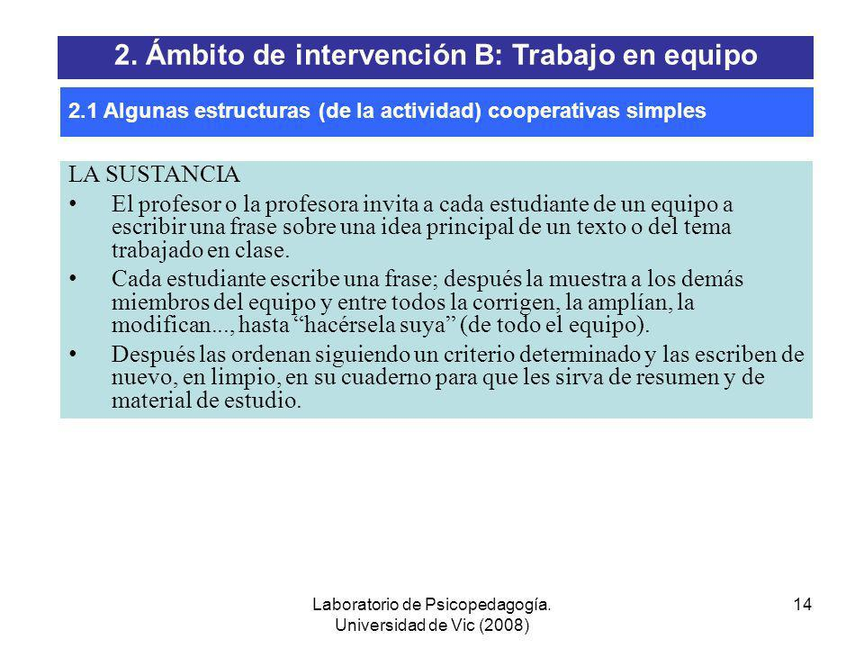 Laboratorio de Psicopedagogía. Universidad de Vic (2008) 13 EL JUEGO DE LAS PALABRAS El maestro o la maestra escribe en la pizarra unas cuantas palabr