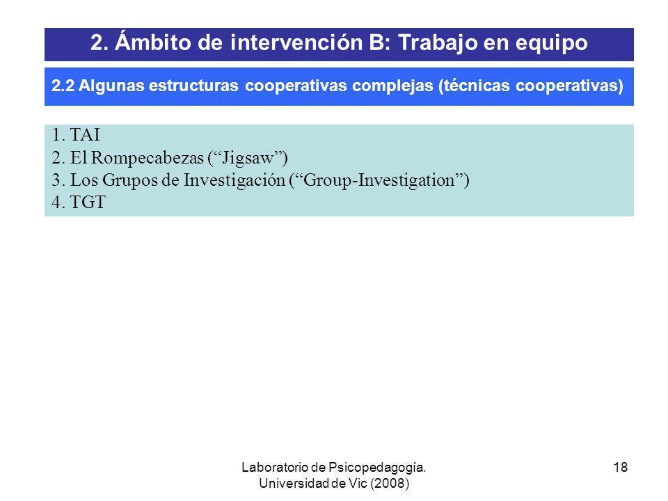 Laboratorio de Psicopedagogía. Universidad de Vic (2008) 17 Grupo clase distribuido en equipos esporádicos más homogéneos: Posible combinación de estr