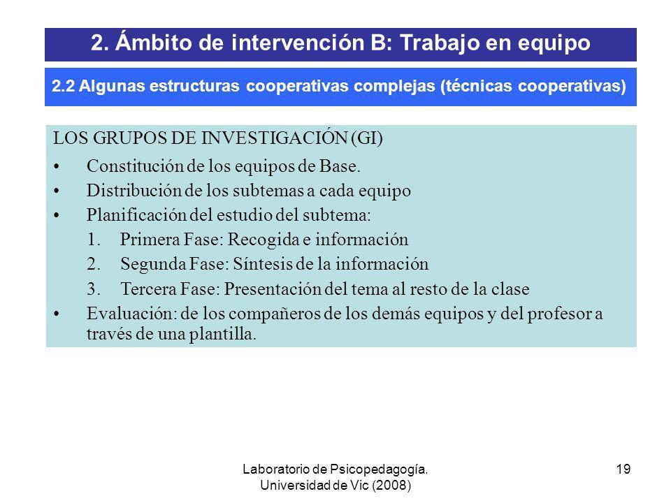 Laboratorio de Psicopedagogía. Universidad de Vic (2008) 18 1. TAI 2. El Rompecabezas (Jigsaw) 3. Los Grupos de Investigación (Group-Investigation) 4.
