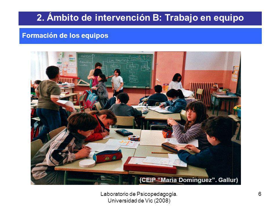 Laboratorio de Psicopedagogía. Universidad de Vic (2008) 5 EQUIPOS DE COMPOSICIÓN HETEROGÉNEA: EQUIPOS DE COMPOSICIÓN HOMOGÉNEA: Formación de los equi