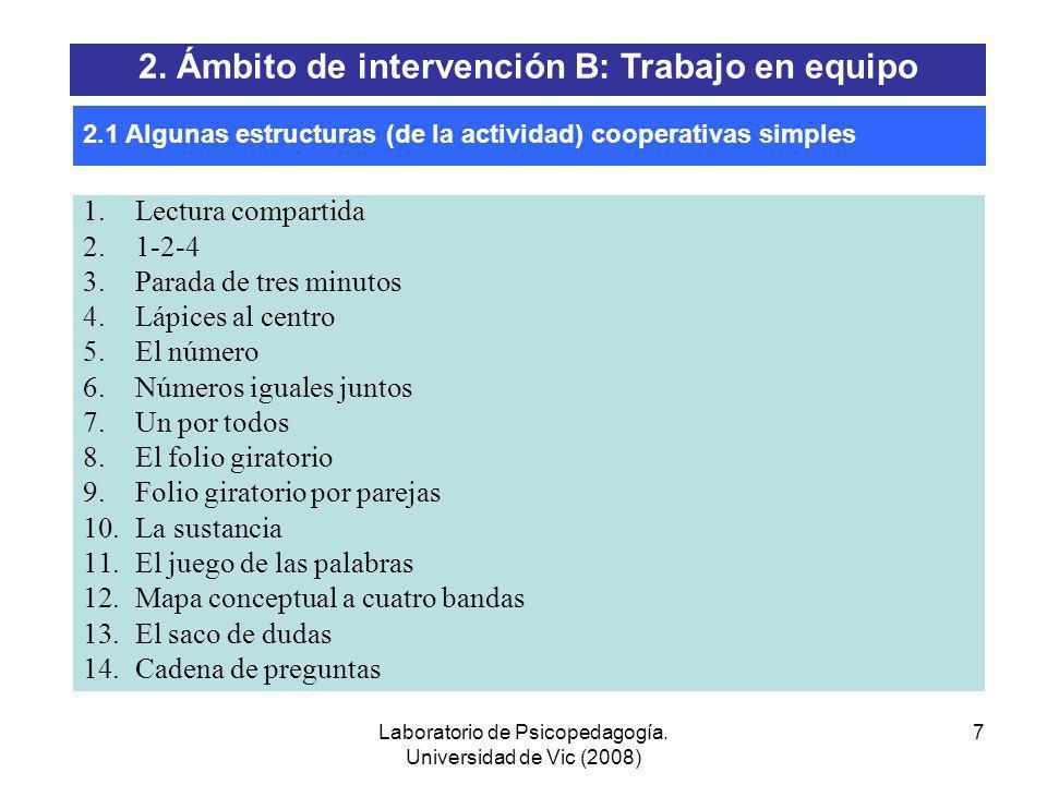 Laboratorio de Psicopedagogía. Universidad de Vic (2008) 6 (CEIP Maria Domínguez. Gallur) Formación de los equipos 2. Ámbito de intervención B: Trabaj