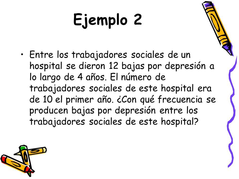 Ejemplo 2 Entre los trabajadores sociales de un hospital se dieron 12 bajas por depresión a lo largo de 4 años.