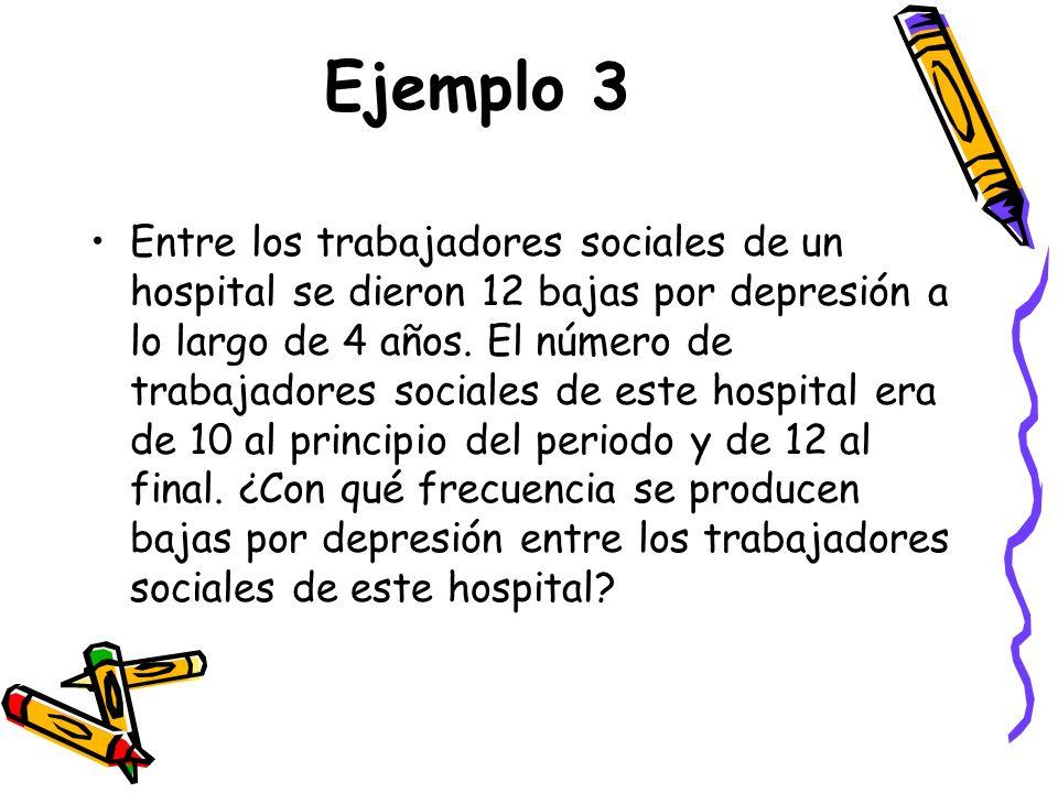 Ejemplo 3 Entre los trabajadores sociales de un hospital se dieron 12 bajas por depresión a lo largo de 4 años. El número de trabajadores sociales de
