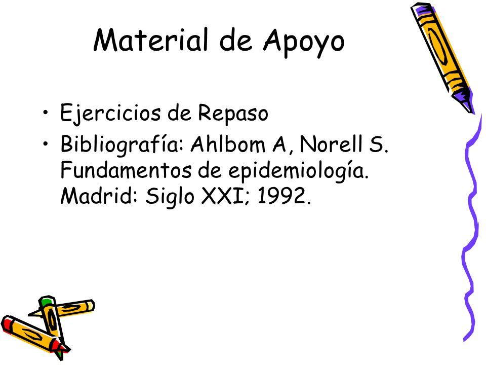 Material de Apoyo Ejercicios de Repaso Bibliografía: Ahlbom A, Norell S. Fundamentos de epidemiología. Madrid: Siglo XXI; 1992.