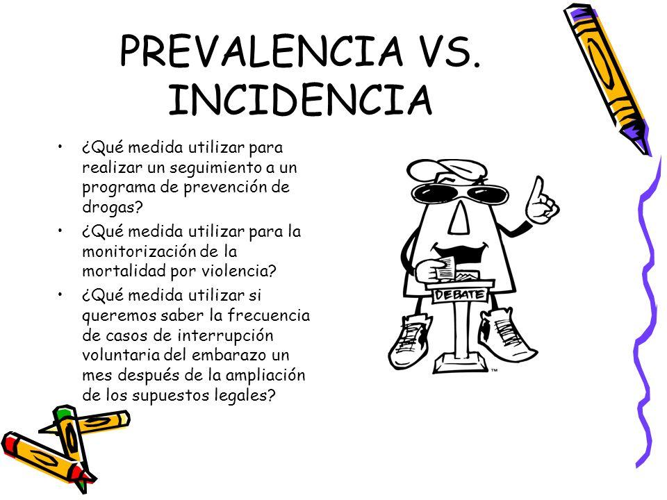 PREVALENCIA VS. INCIDENCIA ¿Qué medida utilizar para realizar un seguimiento a un programa de prevención de drogas? ¿Qué medida utilizar para la monit