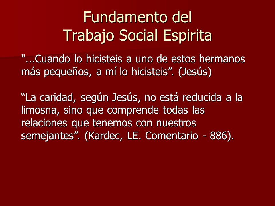 Fundamento del Trabajo Social Espirita CARIDAD: Palabra derivada del latín: carus (querido) - caro (amor) - cáritas, que sintetiza la propuesta evangélica de amor al prójimo.