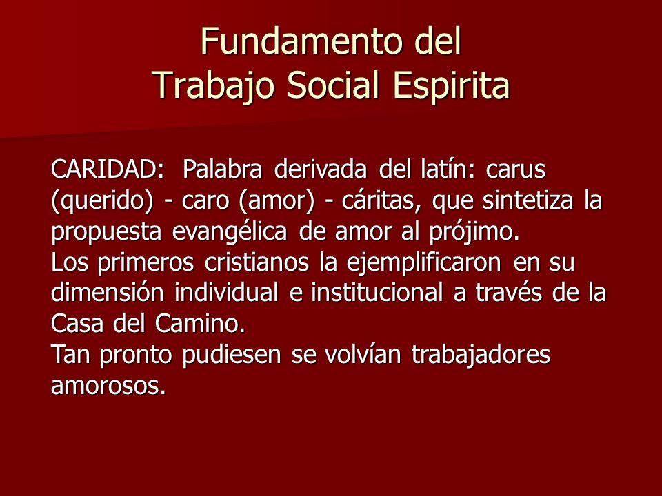 Fundamento del Trabajo Social Espirita CARIDAD: Palabra derivada del latín: carus (querido) - caro (amor) - cáritas, que sintetiza la propuesta evangé