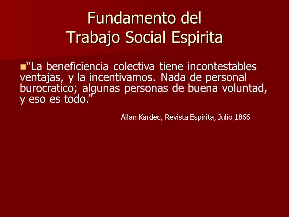 Fundamento del Trabajo Social Espirita Allan Kardec, Revista Espirita, Julio 1866 La beneficiencia colectiva tiene incontestables ventajas, y la incen