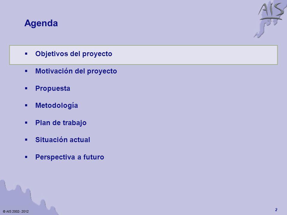 © AIS 2002- 2012 G r o u p © AIS 2002- 2012 2 Agenda Objetivos del proyecto Motivación del proyecto Propuesta Metodología Plan de trabajo Situación actual Perspectiva a futuro