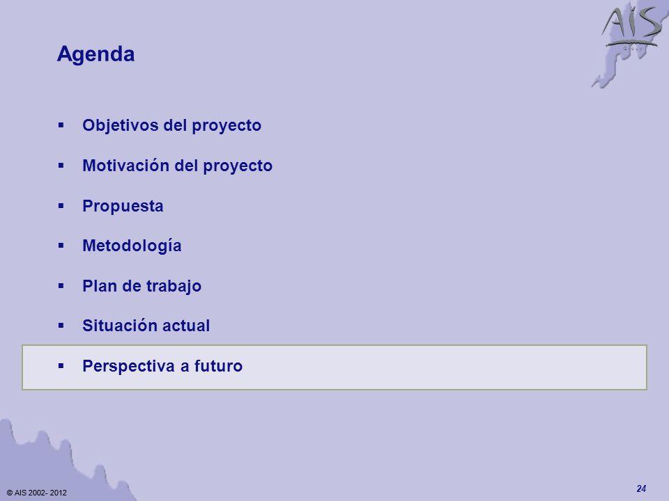 © AIS 2002- 2012 G r o u p © AIS 2002- 2012 24 Agenda Objetivos del proyecto Motivación del proyecto Propuesta Metodología Plan de trabajo Situación actual Perspectiva a futuro