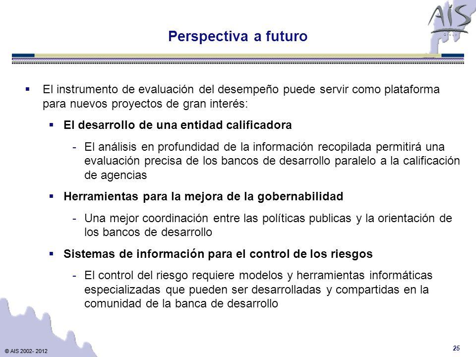 © AIS 2002- 2012 G r o u p © AIS 2002- 2012 25 Perspectiva a futuro El instrumento de evaluación del desempeño puede servir como plataforma para nuevo