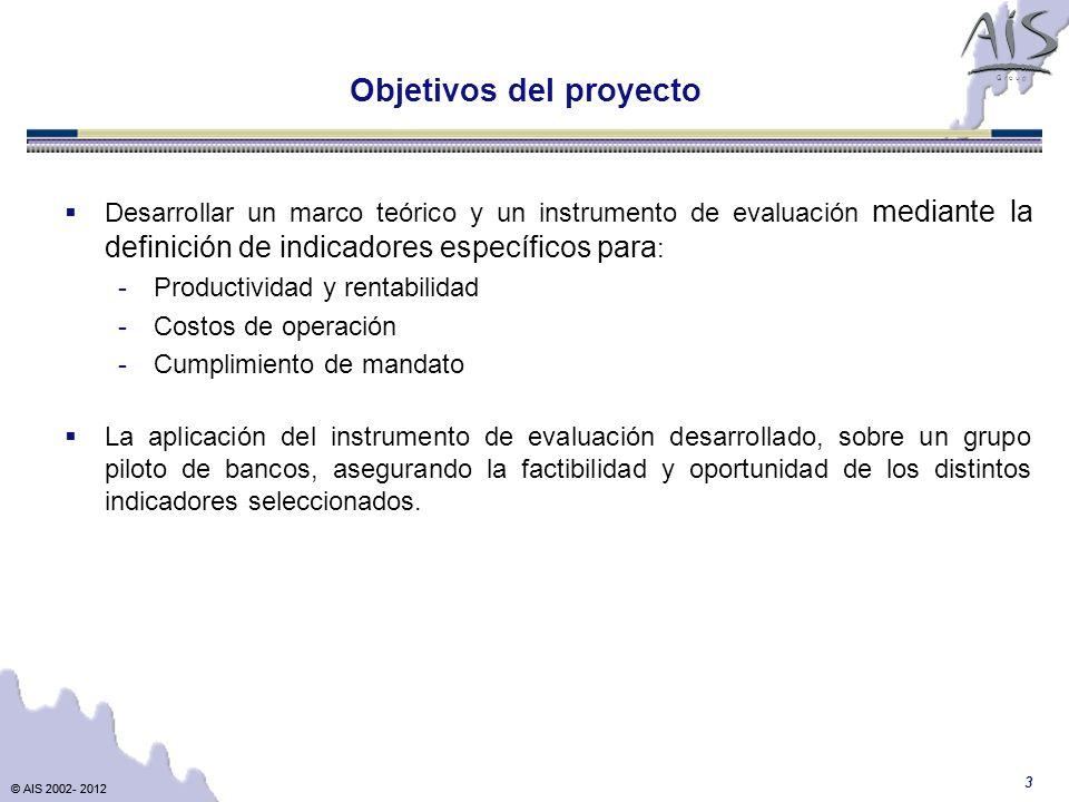 © AIS 2002- 2012 G r o u p © AIS 2002- 2012 3 Desarrollar un marco teórico y un instrumento de evaluación mediante la definición de indicadores especí