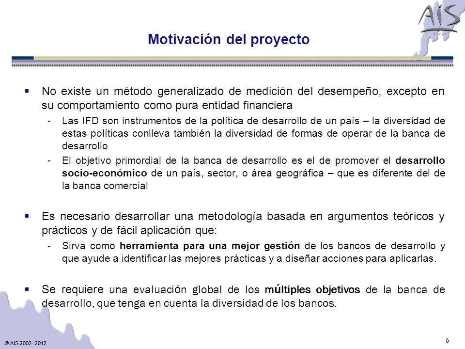 © AIS 2002- 2012 G r o u p © AIS 2002- 2012 5 Motivación del proyecto No existe un método generalizado de medición del desempeño, excepto en su compor