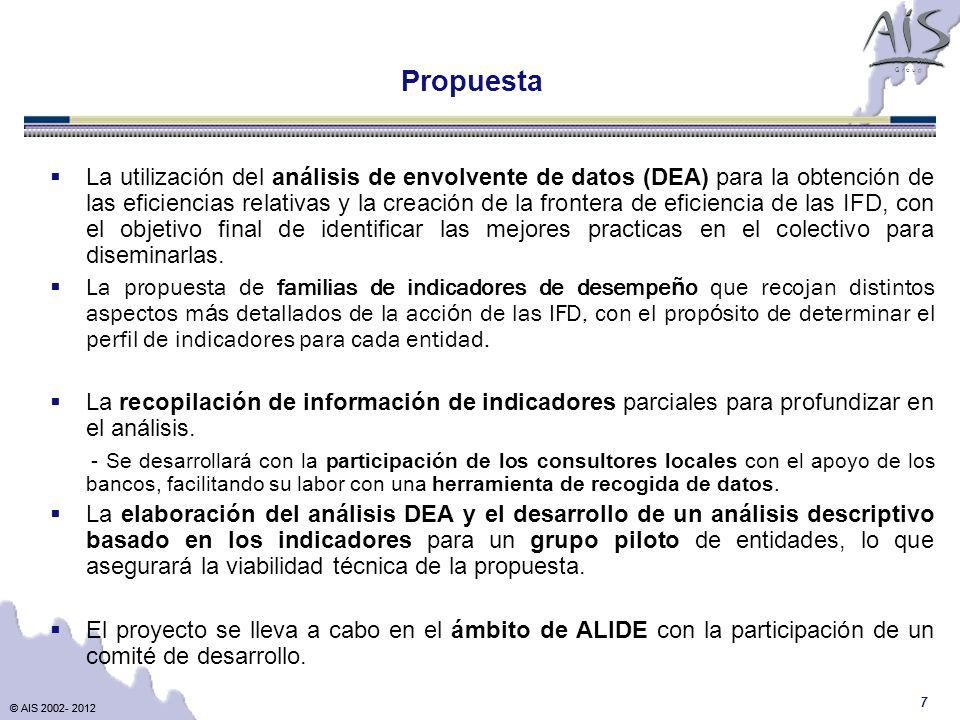 © AIS 2002- 2012 G r o u p © AIS 2002- 2012 7 La utilización del análisis de envolvente de datos (DEA) para la obtención de las eficiencias relativas y la creación de la frontera de eficiencia de las IFD, con el objetivo final de identificar las mejores practicas en el colectivo para diseminarlas.
