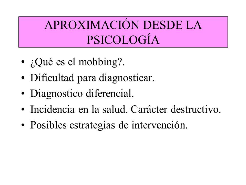APROXIMACIÓN DESDE LA PSICOLOGÍA ¿Qué es el mobbing?. Dificultad para diagnosticar. Diagnostico diferencial. Incidencia en la salud. Carácter destruct