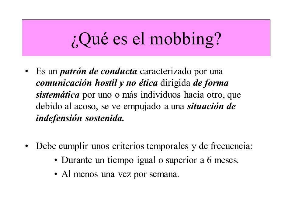 ¿Qué es el mobbing? Es un patrón de conducta caracterizado por una comunicación hostil y no ética dirigida de forma sistemática por uno o más individu