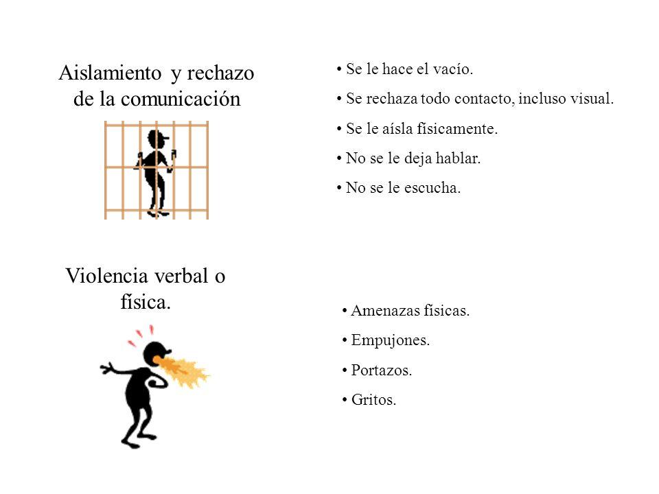 Aislamiento y rechazo de la comunicación Se le hace el vacío. Se rechaza todo contacto, incluso visual. Se le aísla físicamente. No se le deja hablar.
