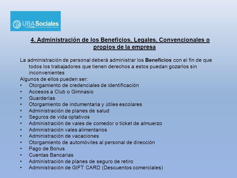 4. Administración de los Beneficios, Legales, Convencionales o propios de la empresa La administración de personal deberá administrar los Beneficios c