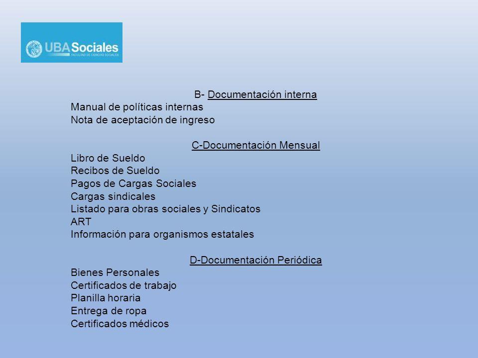 B- Documentación interna Manual de políticas internas Nota de aceptación de ingreso C-Documentación Mensual Libro de Sueldo Recibos de Sueldo Pagos de