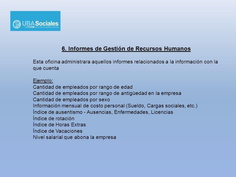 6. Informes de Gestión de Recursos Humanos Esta oficina administrara aquellos informes relacionados a la información con la que cuenta Ejemplo: Cantid