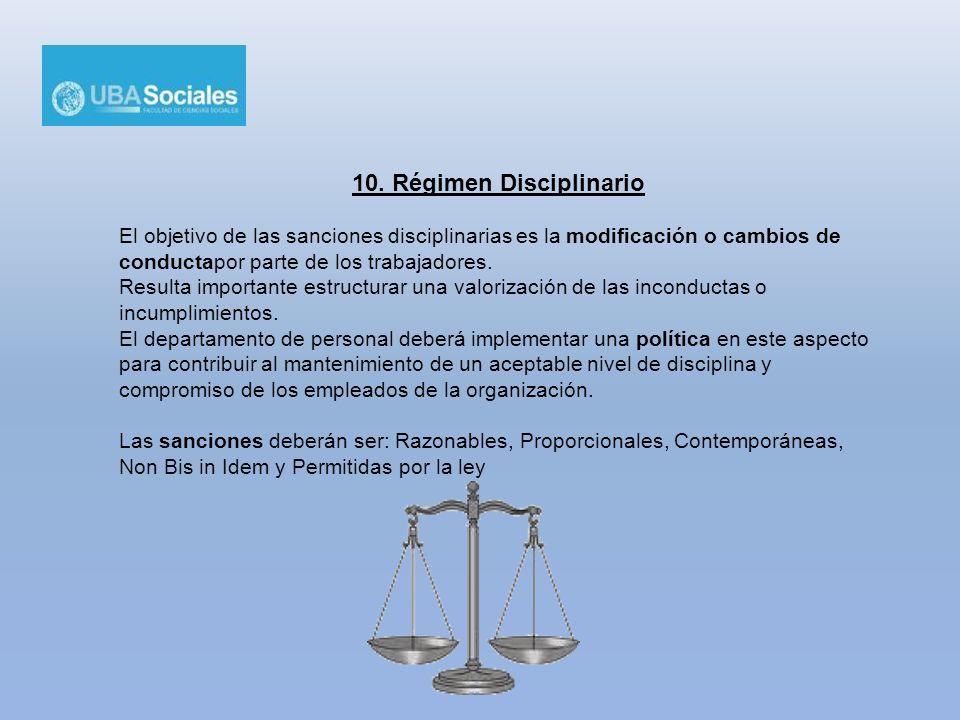 10. Régimen Disciplinario El objetivo de las sanciones disciplinarias es la modificación o cambios de conductapor parte de los trabajadores. Resulta i
