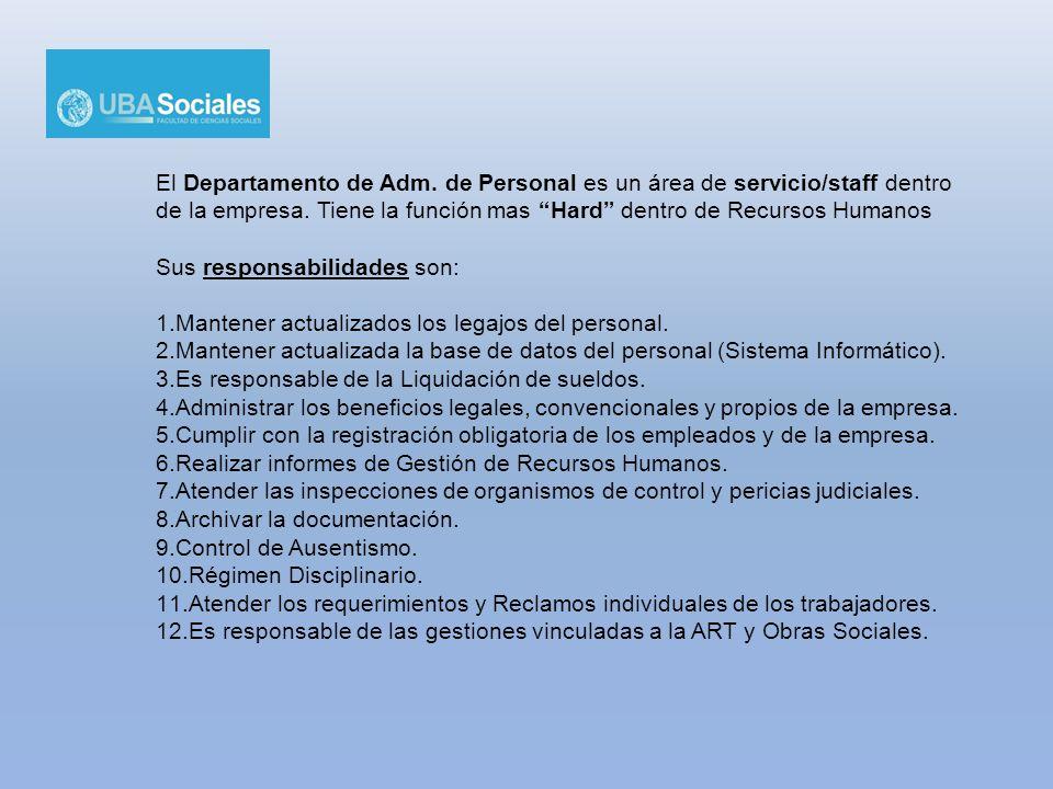 El Departamento de Adm. de Personal es un área de servicio/staff dentro de la empresa. Tiene la función mas Hard dentro de Recursos Humanos Sus respon