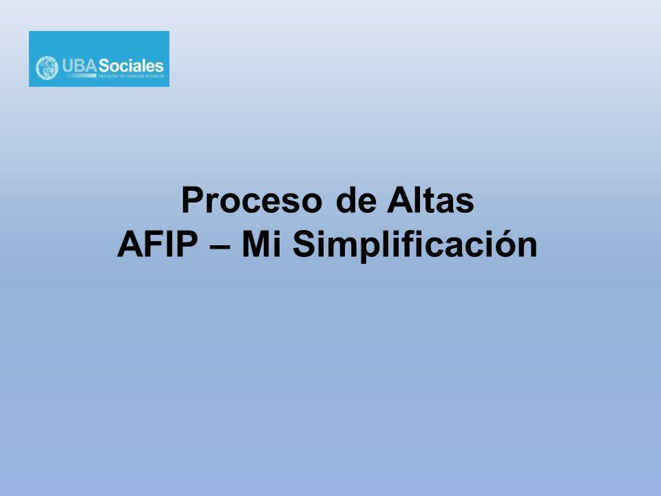 Proceso de Altas AFIP – Mi Simplificación