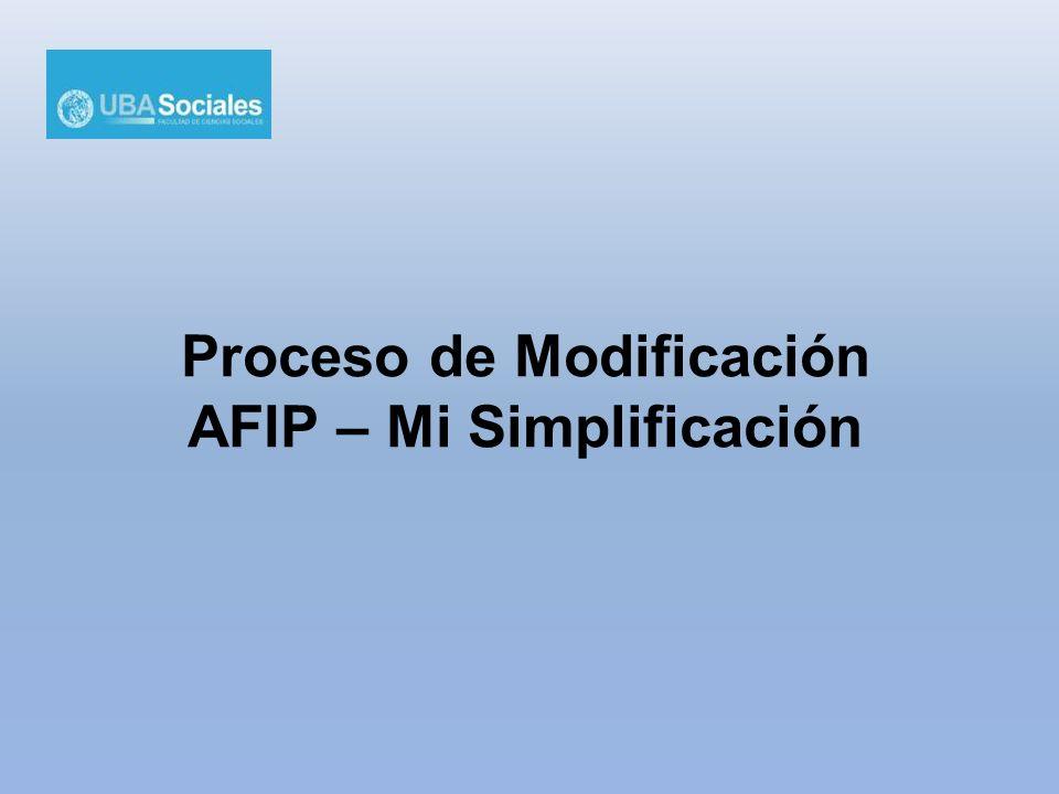 Proceso de Modificación AFIP – Mi Simplificación