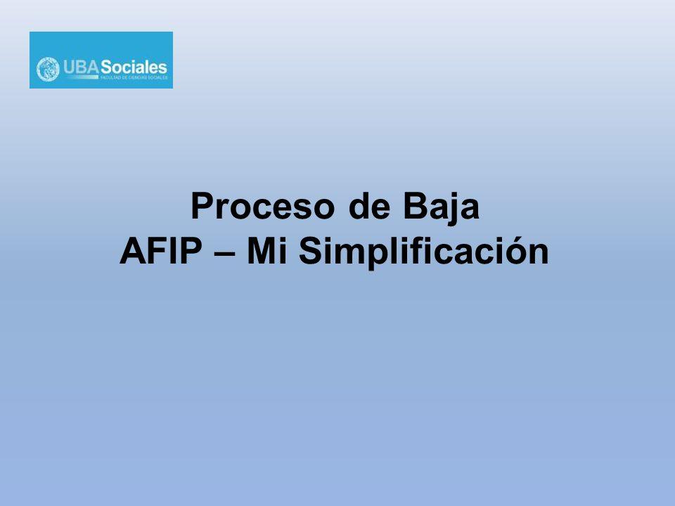 Proceso de Baja AFIP – Mi Simplificación