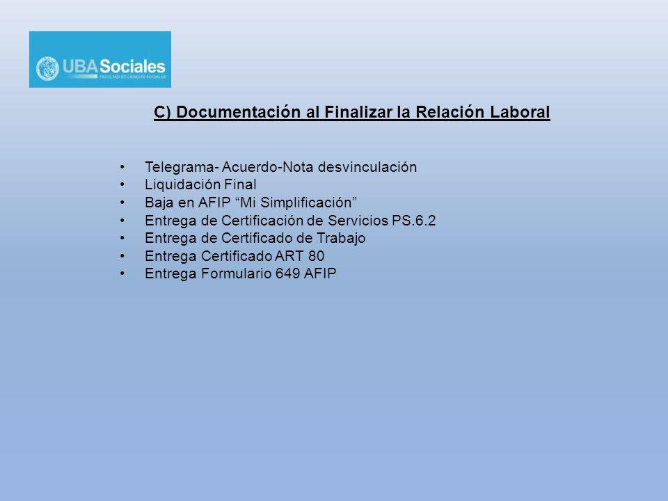 C) Documentación al Finalizar la Relación Laboral Telegrama- Acuerdo-Nota desvinculación Liquidación Final Baja en AFIP Mi Simplificación Entrega de C