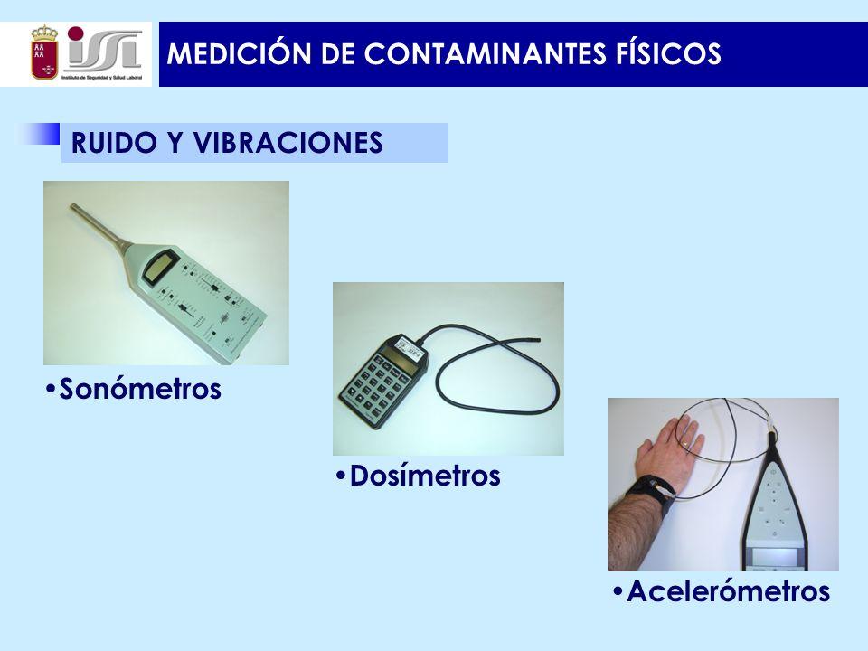 MEDICIÓN DE CONTAMINANTES FÍSICOS RUIDO Y VIBRACIONES Acelerómetros Dosímetros Sonómetros