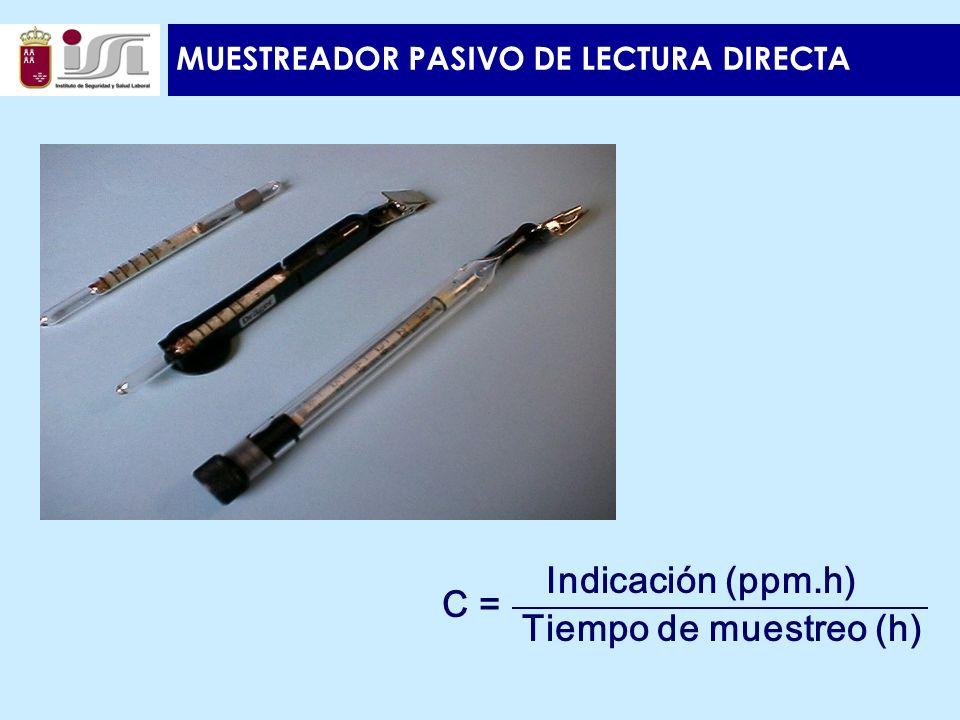 MUESTREADOR PASIVO DE LECTURA DIRECTA C = Indicación (ppm.h) Tiempo de muestreo (h)