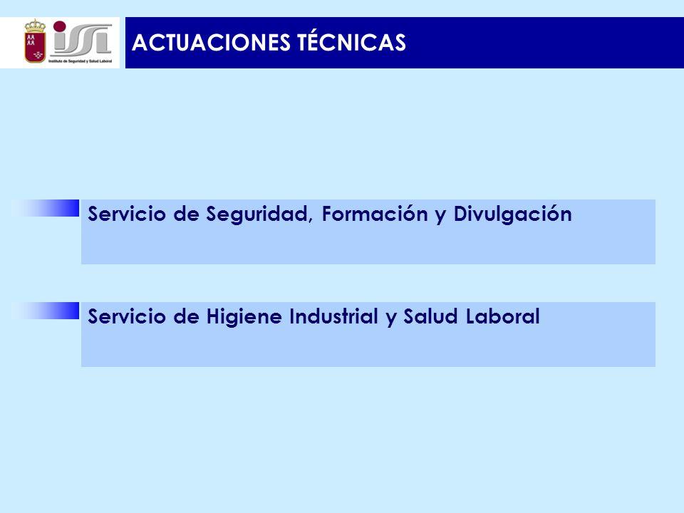 ACTUACIONES TÉCNICAS Servicio de Seguridad, Formación y Divulgación Servicio de Higiene Industrial y Salud Laboral