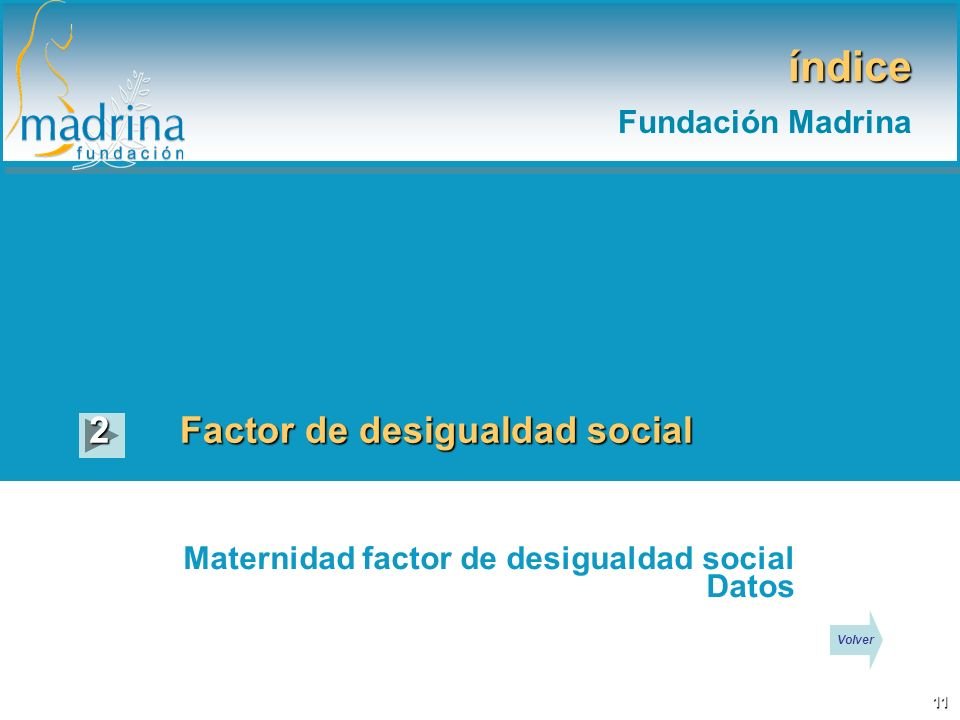 índice Fundación Madrina Factor de desigualdad social 2 Maternidad factor de desigualdad social Datos 11 Volver