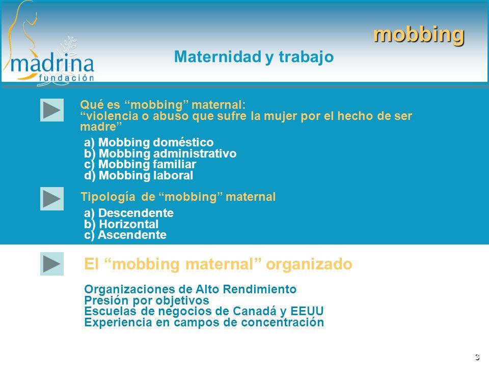 Qué es mobbing maternal: violencia o abuso que sufre la mujer por el hecho de ser madre a) Mobbing doméstico b) Mobbing administrativo c) Mobbing fami