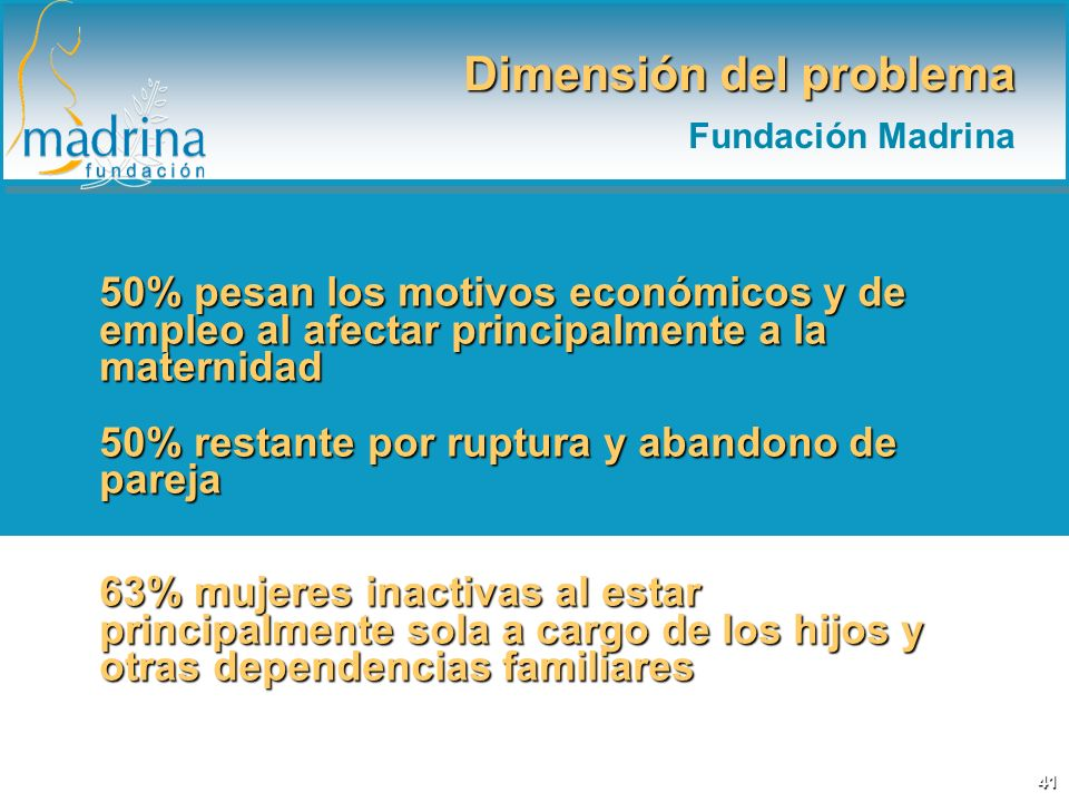 50% pesan los motivos económicos y de empleo al afectar principalmente a la maternidad 50% restante por ruptura y abandono de pareja 63% mujeres inact