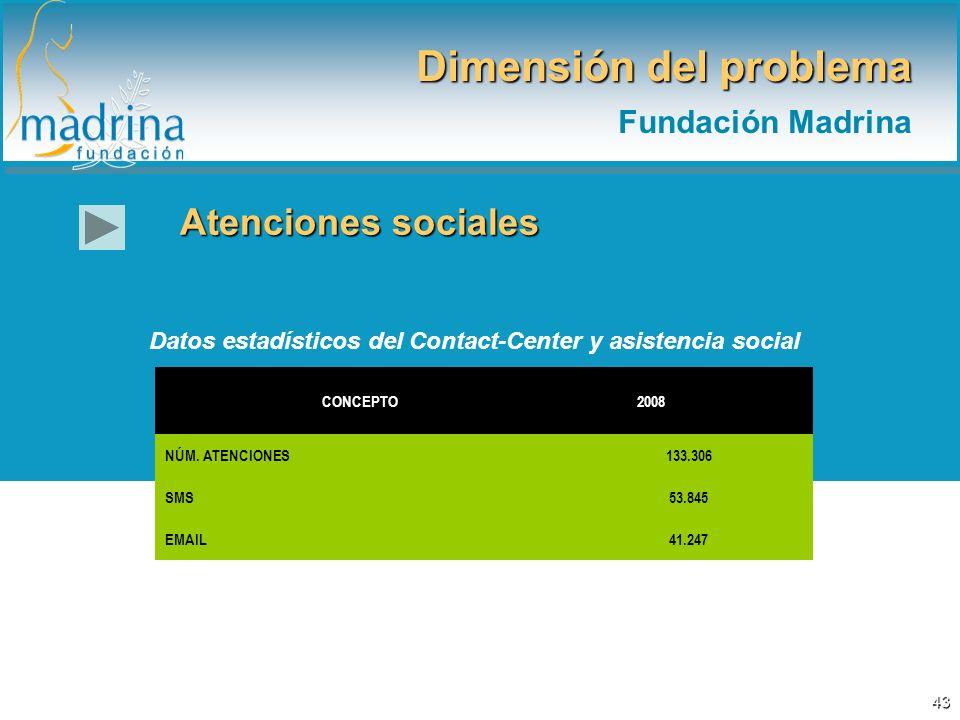 Atenciones sociales Dimensión del problema Fundación Madrina Datos estadísticos del Contact-Center y asistencia social CONCEPTO 2008 NÚM. ATENCIONES13