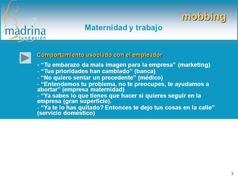 Comportamiento asociado con el empleador - Tu embarazo da mala imagen para la empresa (marketing) - Tus prioridades han cambiado (banca) - No quiero s